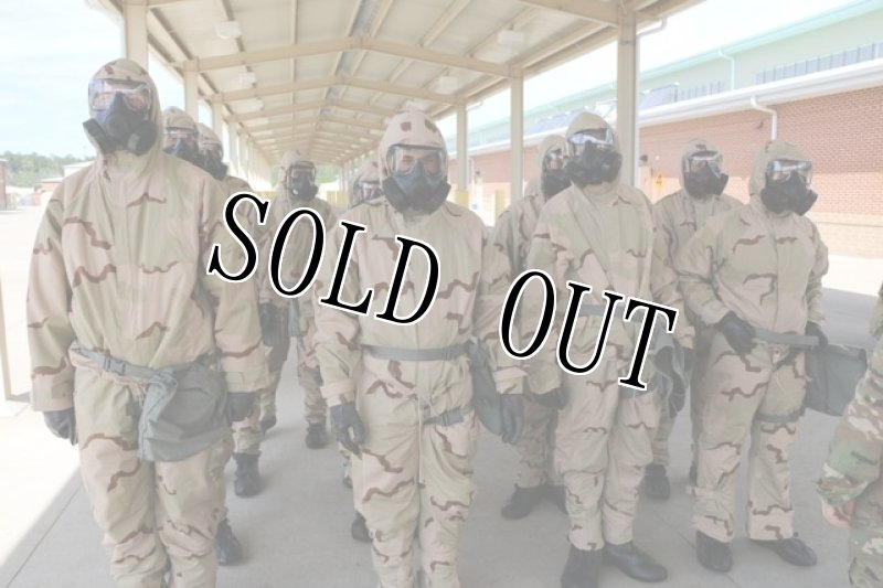 画像1: 米軍実物 科学防護服 デザート3C  ケミカル ジャケト/パンツ SET L-R (1)