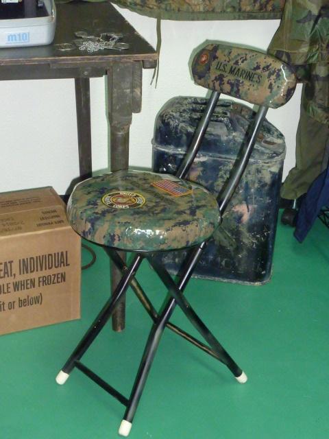 画像1: 米軍 US MARINES カスタムチェアー (1)