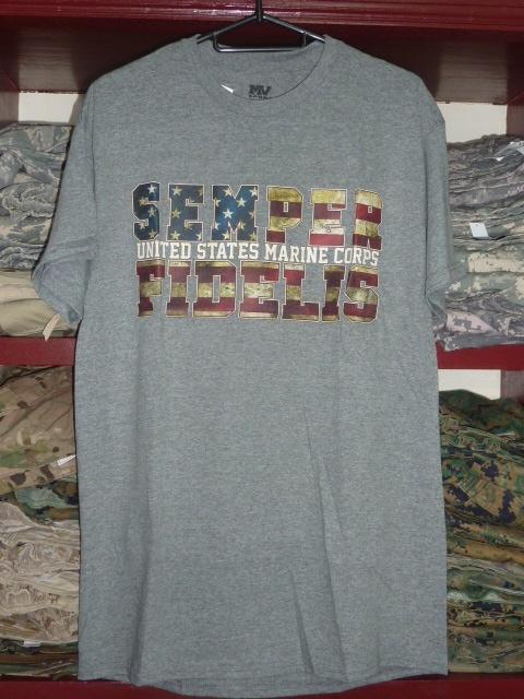 画像1: 米軍放出品,USMC Tシャツ M (1)