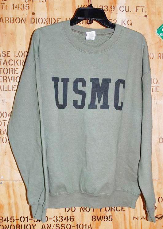 画像1: 米軍放出品.US MARINES  USMCロゴスウェットトレーナー M (1)