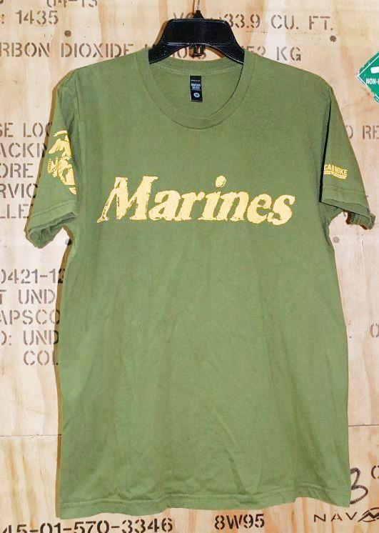 画像1: 米軍放出品,USMCロゴ Tシャツ M (1)