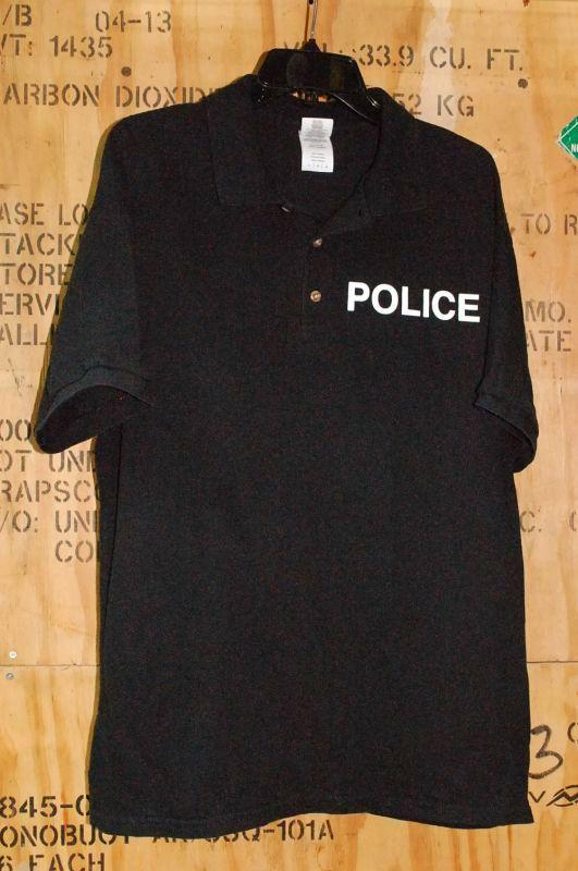 画像1: 米軍放出品,POLICE ポロシャツ L (1)