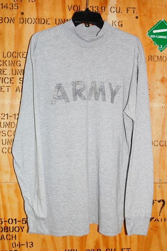 画像1: 米軍実物 US ARMY トレーニングロングスリーブTシャツ L (1)