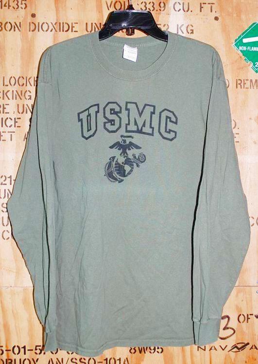画像1: 米軍放出品,USMC ロングスリーブTシャツ L (1)