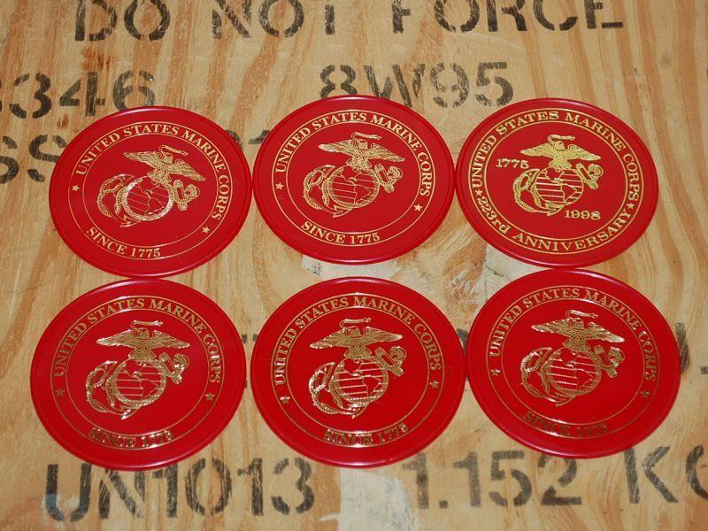 画像1: 海兵隊実物 U.S.MARINES コースター 6個 (1)