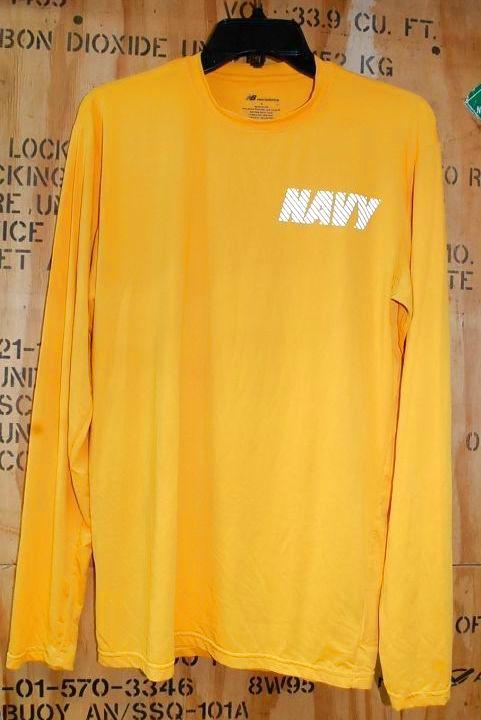 画像1: 米軍放出品 US NAVY ニューバランス ロングスリーブTシャツ S (1)
