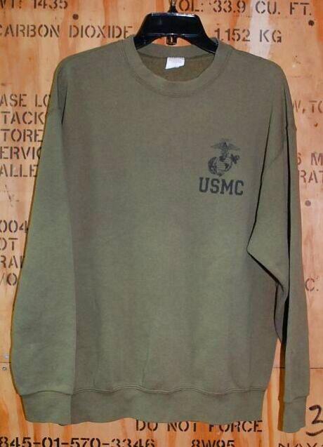 画像1: 米軍放出品.USMC スウェットトレーナー L (1)