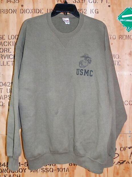 画像1: 米軍放出品.USMC スウェットトレーナー XL (1)